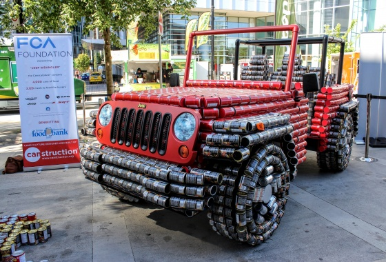 Jeep makes charity Wrangler out of cans of food
